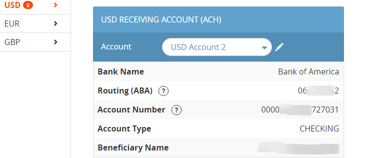 Payoneer ACH Account