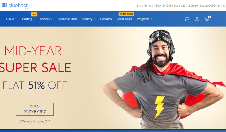 Bluehost India 51% Off Mid-Year Super Sale